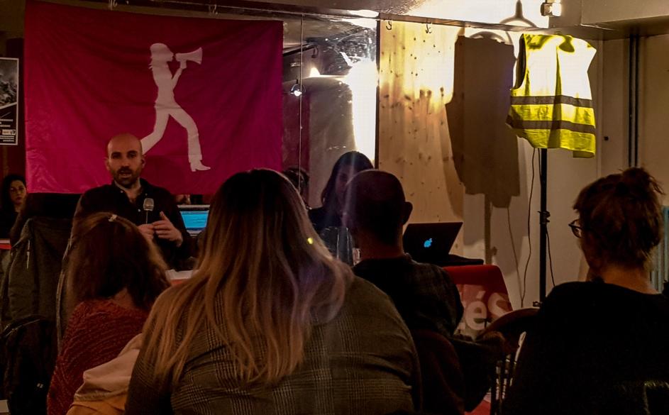 Ugo Palheta lors de la conférence-débat sur « les possibilités du fascisme » au café Gavroche. Copyright K. Dessimoz